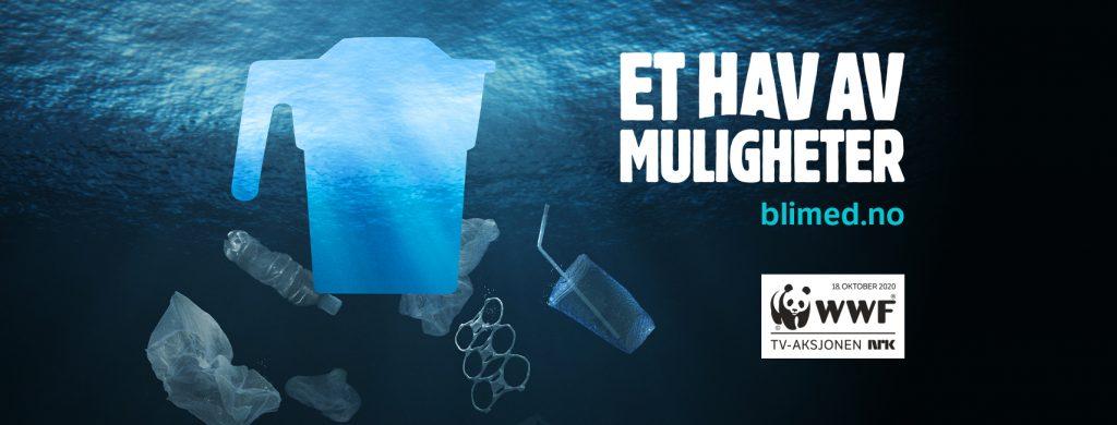 """Plakat med tekst """"Et hav av muligheter. Bli med på tv-aksjonen"""". Bildet viser en bøsse som ligger i vannet sammen med plastbiter."""