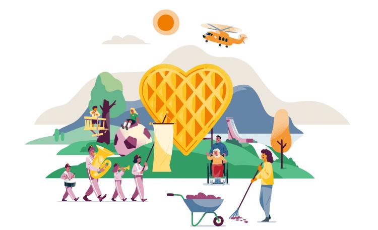 Et illustrasjonsbildet som skal vise mangfoldet av frivillighet i Norge; alt fra de som steker vafler, til korps, de som hjelper eldre og så videre.
