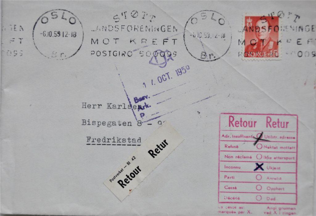En gammel konvolutt sendt ut fra Kreftforeningen i forbindelse med en kampanje.