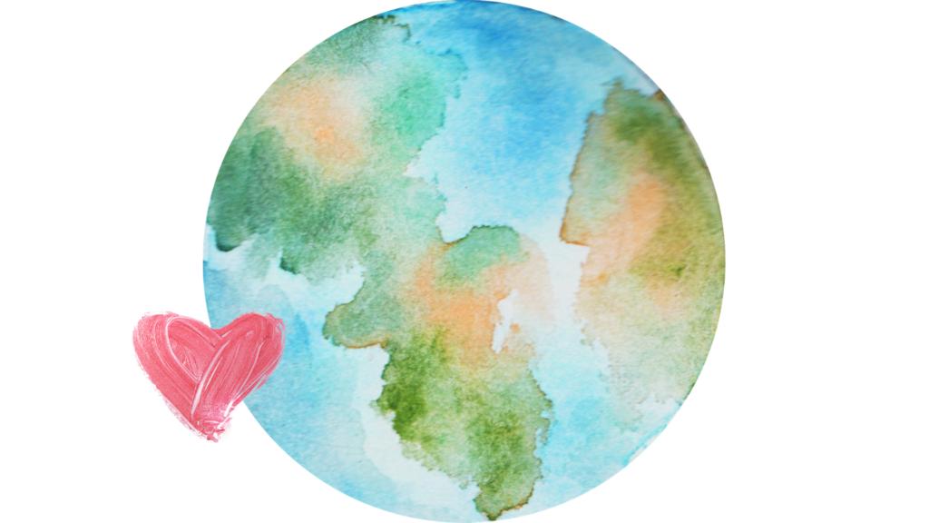 En illustrasjon av jorden og et rødt hjerte som skal symbolisere at norsk bistand har vært på sitt høyeste i 2020.
