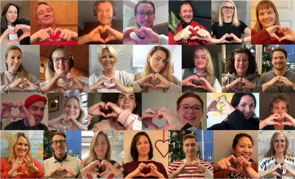 Bildecollage av mange mennesker som holder opp hendene formet som et hjerte for å illustrere fellesskapet til Giving Tuesday.